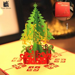 Wholesale custom laser cut - Wholesale- Merry Christmas Tree Vintage 3D laser cut pop up paper handmade custom greeting cards Christmas gifts souvenirs postcards