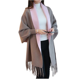 Wholesale Poncho Cardigans - 2017 Winter Women's Warm Artificial Cashmere Tassel Poncho With Batwing Sleeve Solid Knitted Oversize Shawl Cardigans