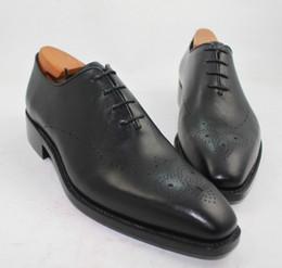Canada Chaussures habillées pour hommes Chaussures Oxford Chaussures sur mesure faites à la main Cuir de veau authentique Chaussures de richelieu en cuir veau Couleur Noir foncé HD-238 cheap black wingtip dress shoes Offre
