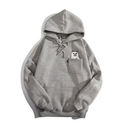 Wholesale Cheap Gray Hoodies - Autumn and winter Europe and the United States hip-hop street original tide brand funny cat cheap couple plus cashmere hoodie hooded sweater
