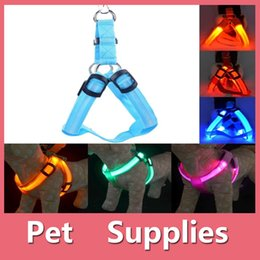 Wholesale Reflective Led - Colorful Led Pet Dog Puppy Cat Kitten Soft Glossy Reflective Collar Harness Safety Buckle Pet Supplies Products 160912