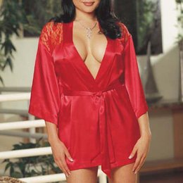 Wholesale Cheap Latex Lingerie - 2017 Cheap Sale Lace Bathrobe Backless Nightskirt Nightgown Sleepwear Sexy Lingerie Erotic Underwear + T-back sexy costumes