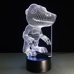 Wholesale Dinosaur Cup - Dinosaur 3D Optical Illusion Lamp Night Light DC 5V USB AA Battery Wholesale Dropshipping Free Shipping Retail Box