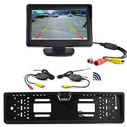 "Wholesale Car Camera License Plate - Wireless Car Rear View Kit 4.3"" TFT LCD Monitor + Rear View Camera Universal EU European License Plate Frame Wireless Car Rear View"