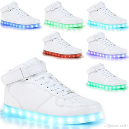 Wholesale Leather Black Usb - 2016 new Unisex USB LED Lights Luminous Shoes Sportswear Men Women Lace Up Casual Sneaker led shoes lot drop shipping
