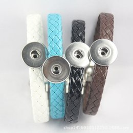 Wholesale Magnetic Plastic Bangle Bracelets - 2017 Knitted Leather Button Charm Magnetic Snap Bracelet Fit DIY Noosa Ginger Snap Button Chunks Bangle Jewelry