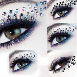 Wholesale Eye Shadow 3d - Eye Rock DIY EYE MAKEUP Eyeshadow decoration party makeup queen eye shadow stickers crystal rhinestone 3D EYE TATTOOS