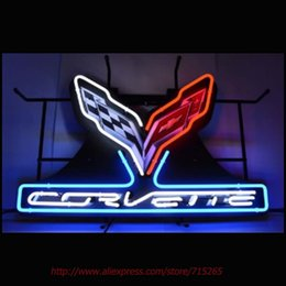 Wholesale Beer Advertising Signs - Wholesale- Neonetics Corvette C7 Stingray Neon Sign Neon Bulbs Led Signs Real Glass Tube Handcrafted Decorate Beer Pub Advertise Neon 30x20