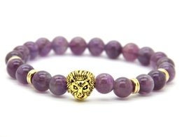 Wholesale Mens Amethyst - 2016 Wholesale 8mm Top Quality Natural Amethyst Stone Beads Real-Gold Plated Lion Head Energy Bracelets Mens Jewelry Mens Gift