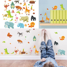 post boxes diy Promo Codes - Mayitr Jungle Animals Decal Lovely Cartoon DIY Kids Wall Stickers Zoo Mural Children Nursery Baby Room Decor Wallpaper Gift