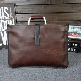 Wholesale Document Handbag - Wholesale- Lealther Briefcases 2017 New Arrival men's leather briefcase famous brand design men's business bag handbag document office bag