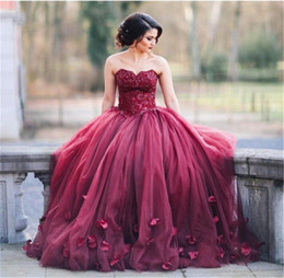 Wholesale Sweetheart Flower Empire Dress - Arabic Long Evening Dresses 2016 Free Shipping Vestido Renda Sweetheart Handmade Flowers Burgundy Prom Dresses Ball Gown
