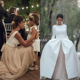 Wholesale Dropped Line - 2017 Country Wedding Dresses with Detachable Skrit Bateau Neck A Line Long Sleeves White Satin Champagne Chiffon Vintage Wedding Gowns Line
