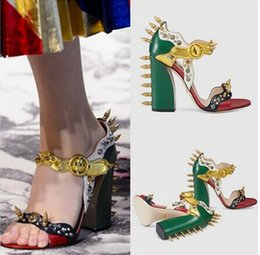 Wholesale Opened Toed High Heel Shoes - New 2017 Fashion Design Spiked Thick High Heeled Peep Toe Women Sandals Boots Rivets Women Sandals Summer Shoes Woman High Quality
