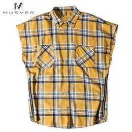 flanell-chemise Rabatt MUSVER Seitlicher Reißverschluss Chemises Pour Homme 2017 Sommer Flanellhemd Männer Übergröße Plaid Sleeveless Justin Bieber Männliche Vetem Shirts