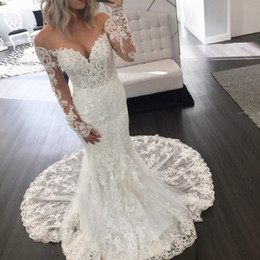 Wholesale Classy Backless Wedding Dresses - Classy Mermaid Berta Lace Wedding Dresses With Long Sleeves Off The Shoulder Backless Bridal Gowns Beads Chapel Plus Size Vestidos De Nnovia