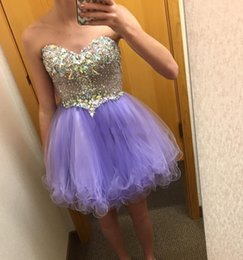Wholesale Tulle Sparkle Homecoming Dress - Lavender Sparkling Crystals Beaded Homecoming Dresses Mini Short Sweetheart Cocktail Dresses Tulle 8th Grade Formal Party Graduation Dresses