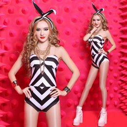 Wholesale Black White Jazz Dancers - 2016 Sexy Classic Simple Black and White Striped Jumpsuits Bodysuits Party Dancer DS Nightclub Performers Hip-hop Jazz Stage Wear #8146