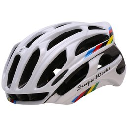 Wholesale Bicycle Helmet Orange Blue - Wholesale-Bicycle Helmet Integrally-molded Cycling Helmet Outdoor Sports Road Mountain MTB Bike Helmet With LED Warning Lights