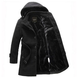 Wholesale Trench Coat Men Black Fur - Fall-2016 Men Thick Warm Winter Trench Coat Long Section Turn Down Collar Single breasted Solid Fashion Fleece Jacket Overcoat XXXL