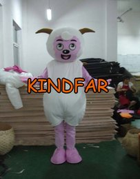 Wholesale Lamb Mascot Costume Sheep - Wholesale-Pleasant Sheep Mascot Costume Goat Jumbuck Lamb Adult Fancy Dress Cartoon Outfit Suit Free Shipping