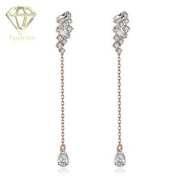 Wholesale Make Drop Earrings - How to Make Earrings? Creative Personality Long Hanging Water Drop Cubic Zirconia Crystal Rose Gold Platinum Plated Earrings