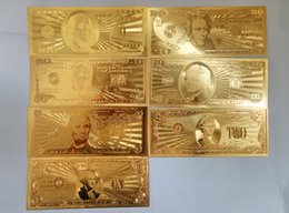 Wholesale Block Inlay - 24K Gold Foil Dollars 7PCS set 100 50 20 10 5 2 1 Commemorative USA banknotes Hot Creative Art Collections Holiday Home Decoration Gift