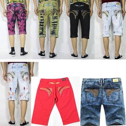 Wholesale Men Short Jeans 32 - 2016 New Robin Jeans Shorts Men With Wings American Flag JEANS Straight Denim Cowboy Famous Brand Slim Designer Men Pants Size 32-42