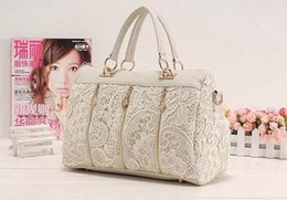 Wholesale Womens Faux Leather Totes - Fashion Womens Lady Retro Lace PU (Faux) Leather Handbag Tote Ladies Crossbody Shoulder Lace Bags H10516