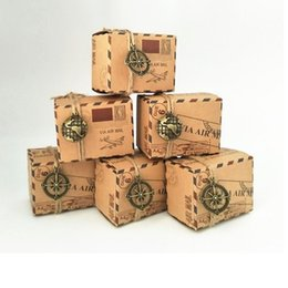 Wholesale Mail Supplies - Wholesale Vintage Favors Kraft Paper Candy Box Travel Theme Airplane Air Mail Gift Packaging Box Wedding Souvenirs wen4366