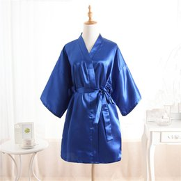 Wholesale Sexy Yukata - Wholesale- Top Selling Summer Women's Kimono Mini Robe Blue Faux Silk Bath Gown Yukata Nightgown Sleepwear Pijama Mujer One Size Mds001