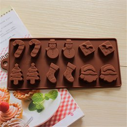 Wholesale Silicon Baking Cup - Cake Baking Moulds Silicon Cake Cup 12pcs Christmas Snowman Socks Tree Chocolate Mould Bakeware Ketchen Free Shipping