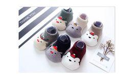 Wholesale warm christmas socks - Christmas socks for children Half wool Non-slip baby Floor socks Xmas cartoon Winter warm terry socks for 1-4T