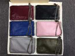 Wholesale Pink Mobile Phones - pvc steel Stella Mccartney chain lady coin purse zipper shaggy deer chain Clutch bag Mobile Phone Pocket Cluth purse