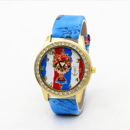 Wholesale Beautiful Fashion Dresses For Women - Fashion beautiful girls printing flower women watch Luxury 2016 leather bracelet watches ladies diamond dress quartz watches for women