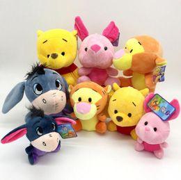 Wholesale Piglet Plush - Winnie The Pooh Plush Doll 18cm Cartoon Animal Pooh Bear Piglet Pig Tigger Tiger Eeyore Donkey Stuffed Toys OOA3473