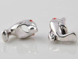 Wholesale Dolphin European Charms - big hole beads sterling silver plated antique silver Suitable for European charm bead The dolphins bracelet jewelry DIY Pandora style