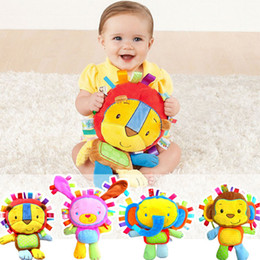 Wholesale Rabbit Lion - Baby Plush Toys 2016 Hot Sale Plush Toys With Rattles BB Device Appease Dolls Monkey Elephant Lion Rabbit Drop Shipping