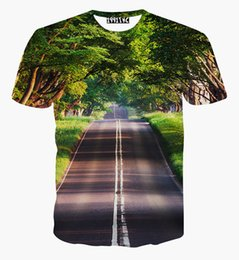 Wholesale Road Cleaning - tshirt Nice Scenery T-shirt for men women 3d tshirt print green trees and clean road casual tops tees t shirt free shipping