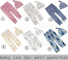 Wholesale Newborn Girls Leggings - 2016 ins cotton harem pant set baby hats + pp pants outfit boys pants kids leggings fashion girls tights newborn top sets trouser wholesale