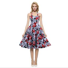 Wholesale Rockabilly Halter - Womens plus size clothing Audrey hepburn 50s Vintage robe Rockabilly Dresses Summer style Retro Swing Casual print Vestidos 2016