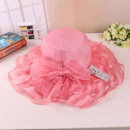 Wholesale Organza Wedding Hats - Ladies Organza Hat Kentucky Derby Wedding Church Party Floral Caps sun summer Hat