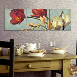 Wholesale Paintings Calla Lilies - Free shipping unframed 3 Pieces Canvas Prints Retro oil painting rose Sunflower Chrysanthemum Calla Lily Lotus fish chinese characters