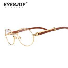 Wholesale Classic Eyeglasses - Eyeglasses Prescription Glasses Frames Lenes Women Eyewear Original Metal Frame Wooden Fashion Glasses Men With Logo Case Box Ct53-55-57