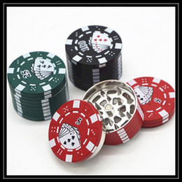 Wholesale Chip Grinder - Colorful Zinc Alloy Poker Chip Grinders 40mm 3 Part Layers Mini Jetton Box Style Herbal Grinder Crushers CNC Teeth Filter Net Grinders