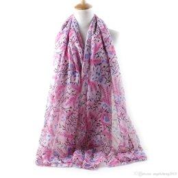 Wholesale Style Gradual - New Fashion Style Gradual Change Print Scarves Flowers Women's Scarf Long Shawl Spring Silk Pashmina Chiffon Infinity Scarf Various Col