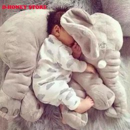 Wholesale Long Nose Animal - 2016 New Arrival 40CM One Piece Cute Gray Elephant Plush Toy With Long Nose Pillows PP Cotton Stuffed Baby Soft Elephants Toys