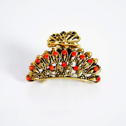 Wholesale Small Hair Claw Clip Rhinestone - Bohemia Vintage Small Hair Accessories Lovely Resin Hair Clip Butterfly Hair Claw Headwear Hairpin Headband for women DHF224
