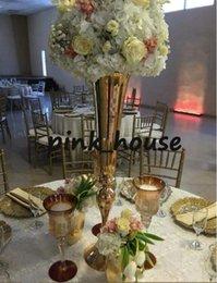 Wholesale Flower Vases For Weddings - Slim metal flower vase , trumpet vases centerpieces for wedding & home decoration
