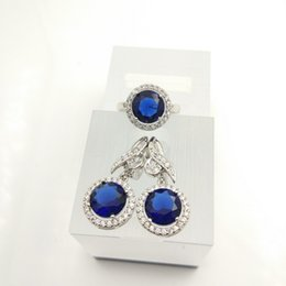 Wholesale 925 China Gold Earrings - Fashionable suit Blue Women 925 silver necklace earrings ring burst fashion size 879 free jewelry box